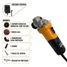 Esmerilhadeira angular profissional pró euro 720w 220v + escudo + escova aço