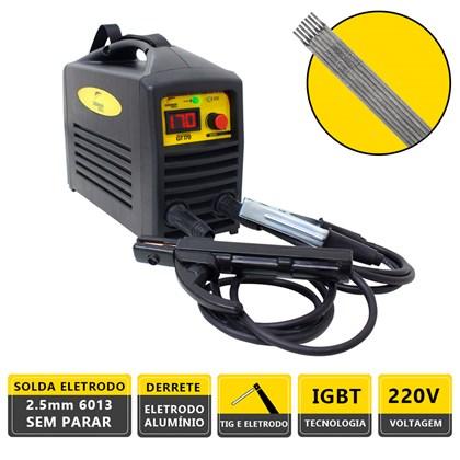 Kit maquina solda inversora german tools gt 170 220v + 250g eletrodo 6013 3,25mm