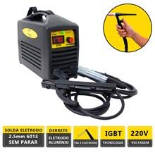 Kit maquina solda inversora german tools gt 170 220v + tocha seca 9mm 3,5m