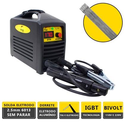 Kit maquina solda inversora german tools gt 170 bivolt + 250g eletrodo 6013 3,25mm