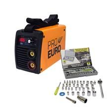 Kit maquina solda inversora pro euro gp 165 bivolt + kit chave jogo catraca soquete 40 peças