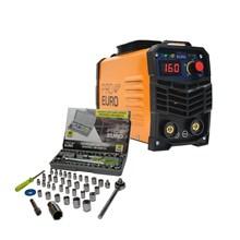 Kit maquina solda inversora pro euro mma 160 220v + kit chave jogo catraca soquete 40 peças