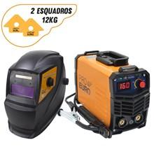 Maquina solda inversora gp 160 220v mod 2020 pro euro + mascara pcr-911 + 2 esquadros magneticos 12kg