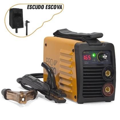 Máquina solda inversora gp 165a bivolt pró euro + escudo + escova de aço