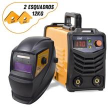 Maquina solda inversora gp 170 bivolt mod 2020 pro euro + mascara pcr-911 + 2 esquadros magneticos 12kg