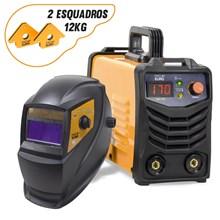 Maquina solda inversora gp 170 bivolt mod 2020 pro euro + mascara pcr-912 + 2 esquadros magneticos 12kg