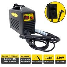 Máquina solda inversora gt 170a 220v german tools + escudo + escova de aço