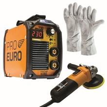 Maquina solda inversora mma 230 - 220v - pro euro + esmerilhadeira 220v + luva de couro
