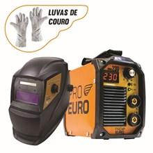 Maquina solda inversora mma 230 - 220v - pro euro + mascara pcr-911 + luva de couro