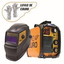 Maquina solda inversora mma 230 - 220v - pro euro + mascara pcr-912 + luva de couro