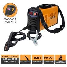 Maquina solda inversora pro euro gp 170 bivolt mod 2020 + mascara solda regulagem fixa psr-910